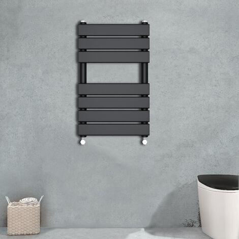650x400 Flat Panel Heated Towel Rail Bathroom Rad Radiator Black