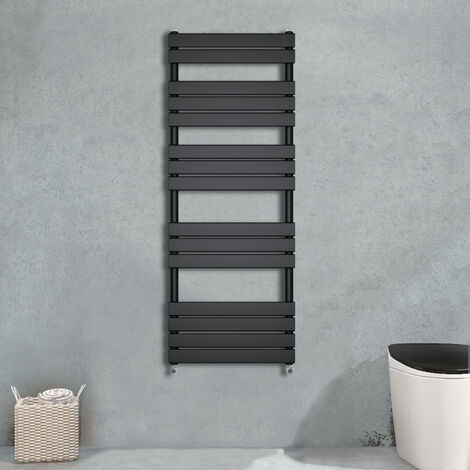 1600x450 Flat Panel Heated Towel Rail Bathroom Rad Radiator Black