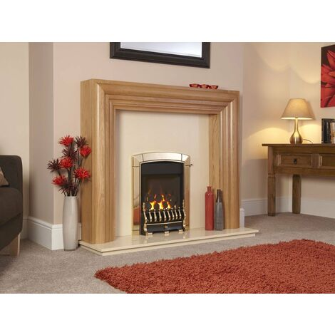 Flavel Caress Traditional Brass Gas Fire Fireplace Large Window Cast Iron Remote