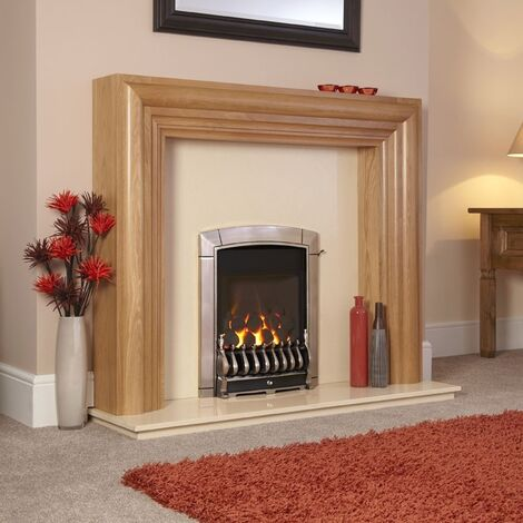 Flavel Caress Traditional Chrome Gas Fire Fireplace Large Window Coal Cast Iron