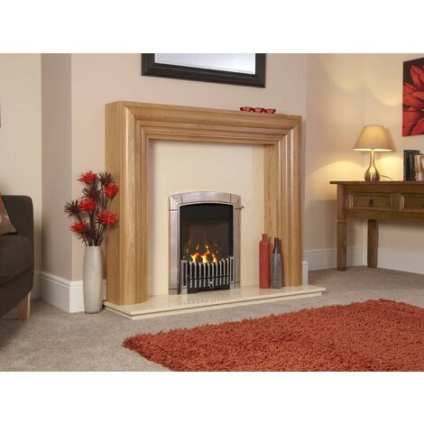 Flavel Caress Traditional Chrome Gas Fire Fireplace Large Window Manual Control