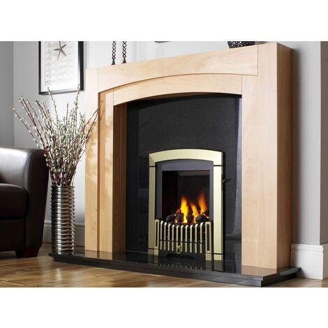 Flavel Melody Inset Brass Gas Fire Manual Fireplace Large Window Slimline Steel