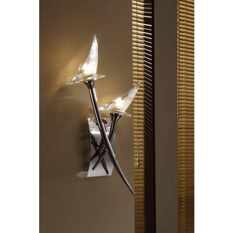 Flavia wall light with 2-light switch G9, polished chrome