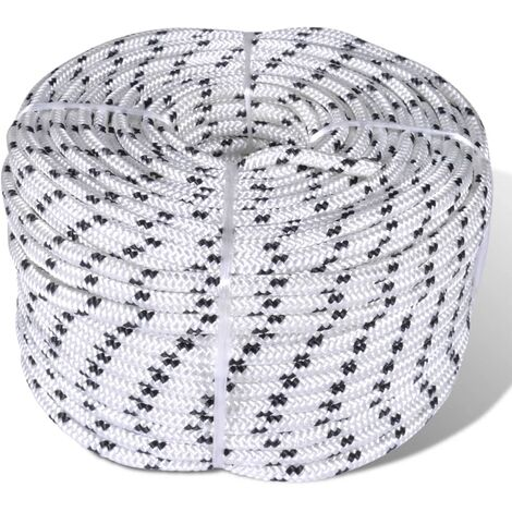 Flechtleine Bootsseil Polyester 8 mm 500 m Weiß