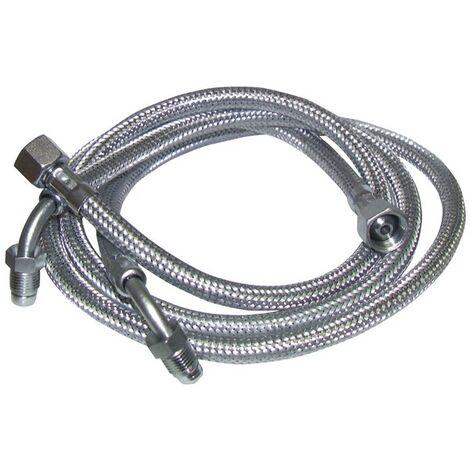 """Flessibile gasolio F3/8"""" x M1/4 con anello su gomito 90° 900mm (X 2) - FRANCO BELGE : 183005"""