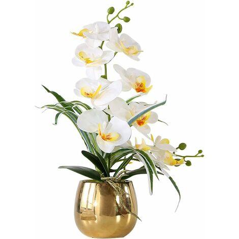 Fleur Artificiel Phalaenopsis Orchidée Plastique en Pot Bonsaï Décoration Florale pour Chambre Bureau Balcon Salon Jardin 12x11x43 cm (Blanc, 7)
