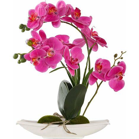 Fleur Artificiel Phalaenopsis Orchidée Plastique en Pot Bonsaï Décoration Florale pour Chambre Bureau Balcon Salon Jardin 12x17x39 cm (Violet, 2)