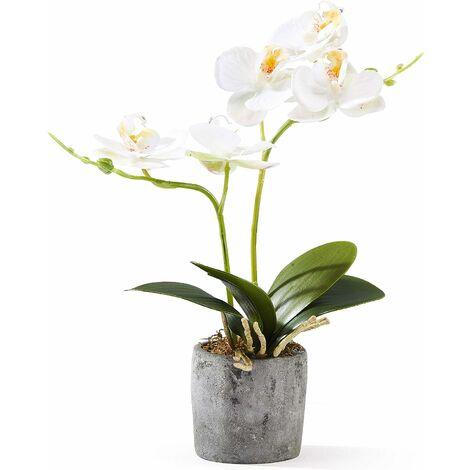 Fleur Artificiel Phalaenopsis Orchidée Soie en Pot Bonsaï Décoration Florale de la Maison pour Chambre Bureau Balcon Salon Jardin 12x12x30 cm (Blanc Type 2)