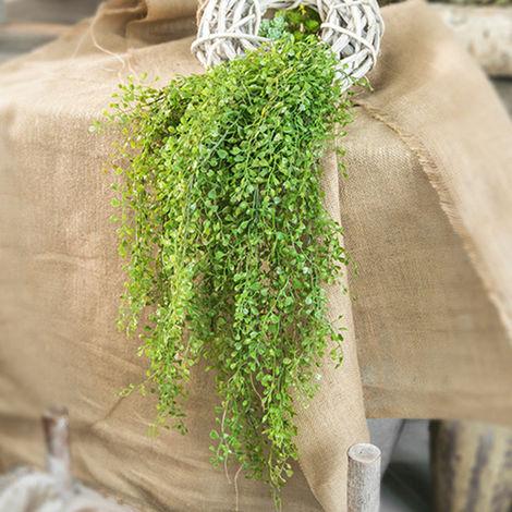 Fleur de simulation plante en pot feuille d'argent Tenture murale en pot faux fleur, vert