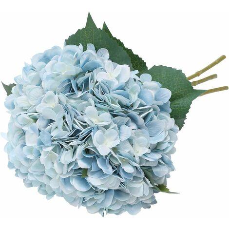 Fleur d'hydrangea Artificielle de, 5 PCS Simples Longues Soie Tige 6,3 Pouces tête Hortensia Bouquets pour Le Mariage, la Maison, hôtel, décoration de fête, Arrangement Floral (Bleu)