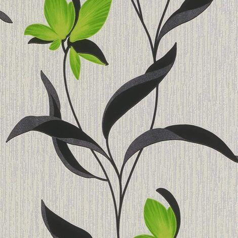 Fleur Green Flower Wallpaper 9730-07 Black Leaf Trail