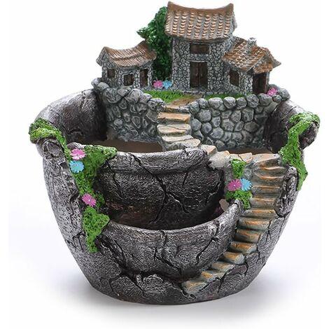"""main image of """"Fleurs Artificielles Plantes Succulentes Pot Suspendu Jardin Design avec Sweet House (Argent)"""""""