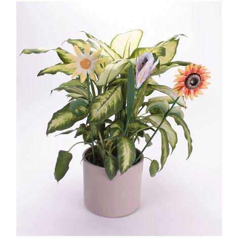 Fleurs en métal avec tige - lot de 3 - Astuceo