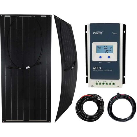Flexible 100W Black Solar Panel with MPPT Charge Controller - K4