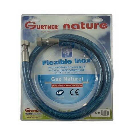Flexible INOX - Gaz naturel - Ecrou G1/2 - 1,5m