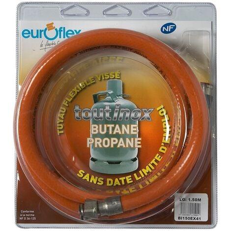 """Flexible Inox Propane/Butane (à vie) - écrou 20x150 / écrou 1/2"""" - Longueur 1.50m"""