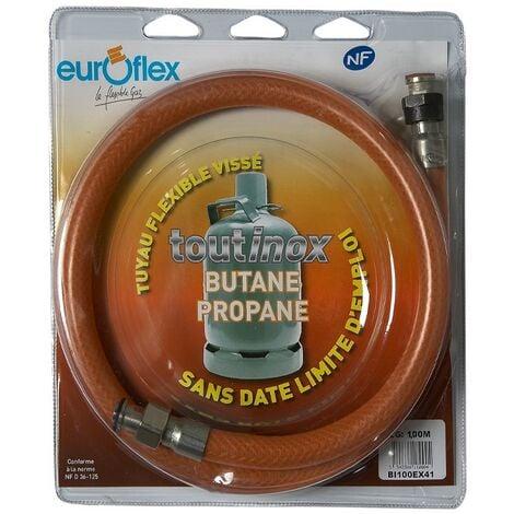 """Flexible Inox Propane/Butane (à vie) - écrou 20x150 / écrou 1/2"""" - Longueur 1m"""