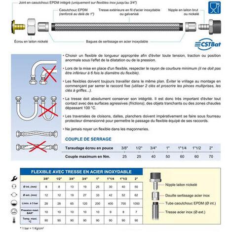 """Flexible sanitaire Inox Ø intérieur 8mm Femelle 1/2""""(15/21) - Mâle 3/8""""(12/17) - longueur 80 cm"""