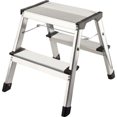 "main image of ""flexilife Aluminium Tritt / Leiter Trittleiter Klapptritt 2 x 2 Stufen bis 150 kg belastbar, Höhe: ca. 40 cm"""
