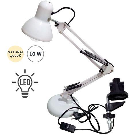 Flexo Antígona Articulable Blanco Con Bombilla LED