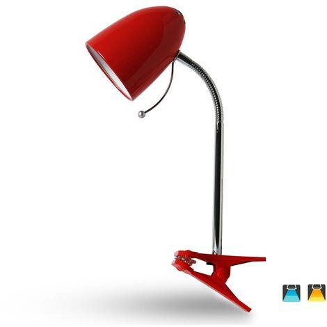 Flexo con pinza E27 Rojo Flexo con pinza E27 Plateado