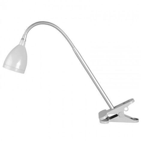 Flexo LED 4W 4200k con blazo flexible y base con pinza de sujección gris y plata