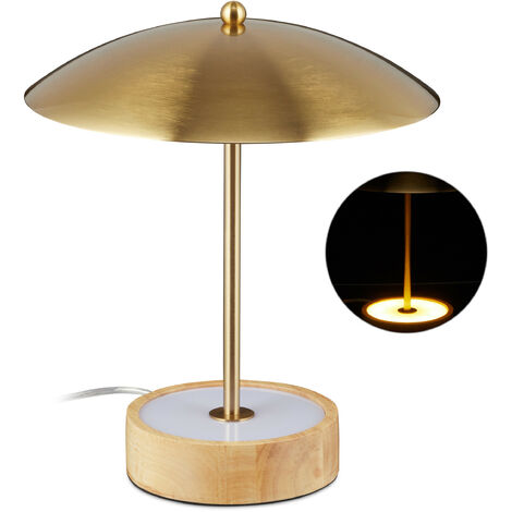 Flexo LED, Soporte redondo de madera, LEDs integrados, Pantalla de hierro, 31,5 x 27,5 cm, Latón & Marrón