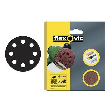 Flexovit 63642526387 Hook & Loop Sanding Discs 125mm Coarse 50g Pack of 6