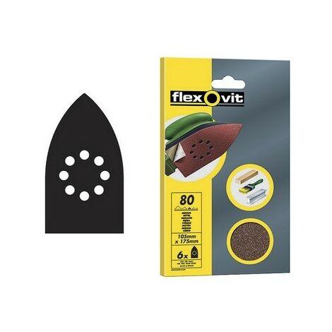 Flexovit 63642526404 Detail Hook & Loop Sanding Sheets 105 x 175mm Medium 80g Pack of 6