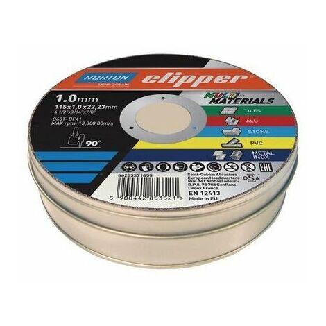 Flexovit 66252839907 Clipper® Multi-Materials Cutting Discs 115 x 22.23mm (Pack 10)