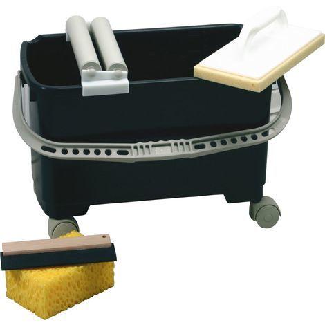 Fliesenleger Waschset 4 tlg Wascheimer 22L Waschbrett Schwamm Triuso