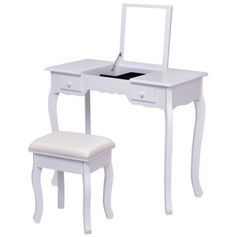 Flip-up Mirror Dressing Table Makeup Desk Study Desk with Stool, 2 Drawers