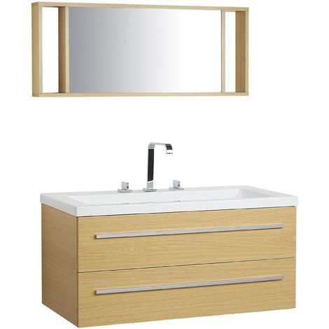Floating Bathroom Vanity Set Light Wood BARCELONA