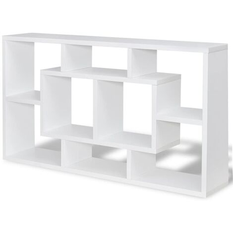 Floating Book Storage Bookshelf | M&W White - White