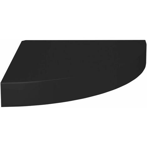 Floating Corner Shelf Black 25x25x3.8 cm MDF