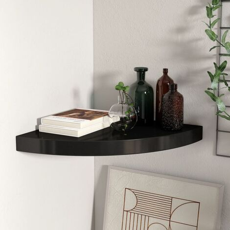 Floating Corner Shelf Black 35x35x3.8 cm MDF