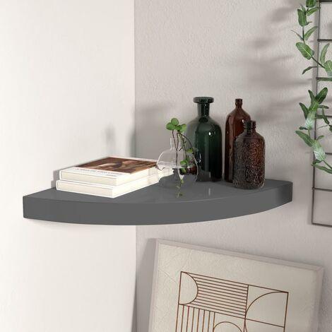 Floating Corner Shelf High Gloss Grey 35x35x3.8 cm MDF