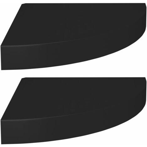 Floating Corner Shelves 2 pcs Black 25x25x3.8 cm MDF