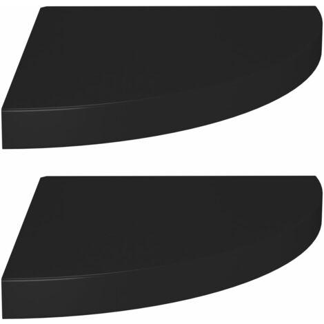Floating Corner Shelves 2 pcs Black 35x35x3.8 cm MDF