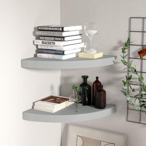 Floating Corner Shelves 2 pcs Grey 35x35x3.8 cm MDF