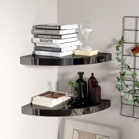 Floating Corner Shelves 2 pcs High Gloss Black 35x35x3.8 cm MDF