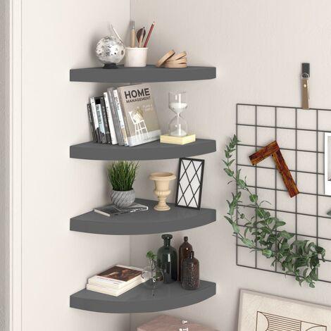 Floating Corner Shelves 4 pcs High Gloss Grey 35x35x3.8 cm MDF