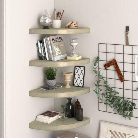Floating Corner Shelves 4 pcs Oak 35x35x3.8 cm MDF
