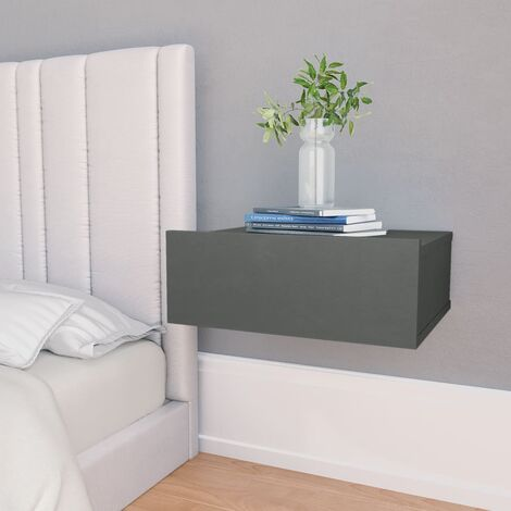 Floating Nightstand Grey 40x30x15 cm Chipboard