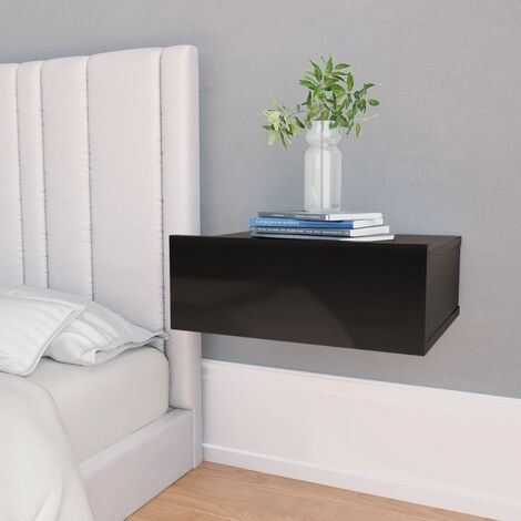 Floating Nightstand High Gloss Black 40x30x15 cm Chipboard
