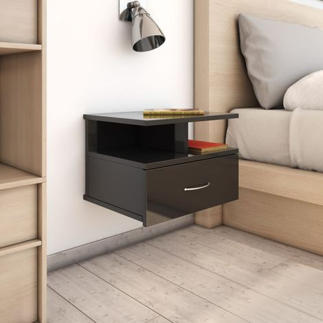 Floating Nightstand High Gloss Black 40x31x27 cm Chipboard