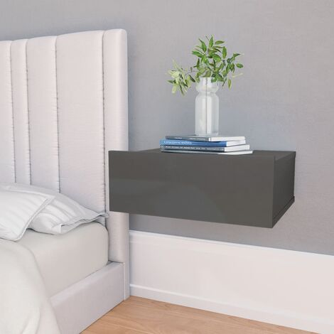 Floating Nightstand High Gloss Grey 40x30x15 cm Chipboard