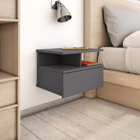 Floating Nightstand High Gloss Grey 40x31x27 cm Chipboard