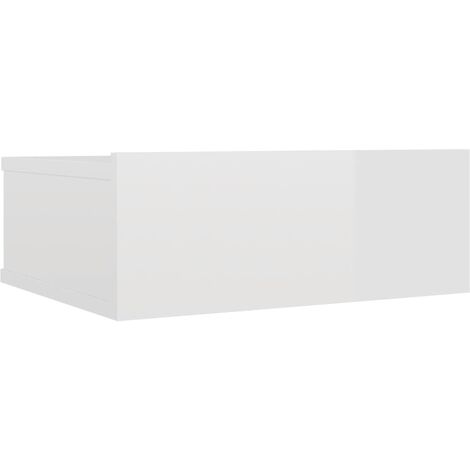 Floating Nightstand High Gloss White 40x30x15 cm Chipboard