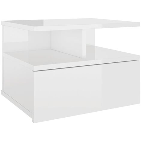 Floating Nightstand High Gloss White 40x31x27 cm Chipboard